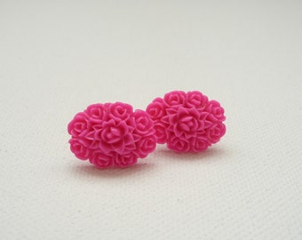ns-Oval Bright Pink Resin Rose Bouquet Stud Earrings