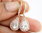 Rose Gold Dangle Earrings Wedding Jewelry Rose Gold Bridal Earrings Bridesmaid Earrings Rose Gold Teardrop Earrings, Ellie