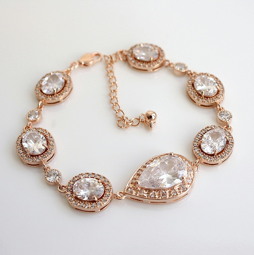 rose gold bridal jewelry wedding bracelet clear by