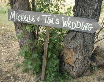 Personalized Wood Wedding Sign Your Name Bridal Rustic Directional on Stake