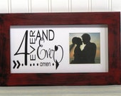 5X10 Distressed Picture Frame Red Black Wood Rustic Frame Quote Saying Mat Forever and Ever Amen