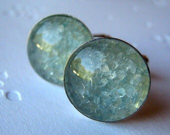 Pale Blue Cufflinks, Light Blue Cufflinks, Gift for Men, Stained Glass, Round Cufflink, Crystal Cufflinks, Cufflink Jewelry, Jewelry for Men