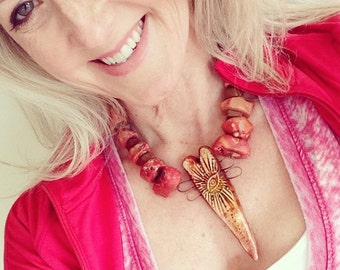 Primitive Love Necklace - Artisan Handmade - Coral - Earthy Statement Jewelry by YaY Jewelry