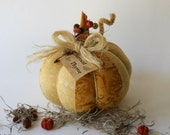 Fabric Pumpkin Thanksgiving Pumpkin Gold Harvest Thyme - primitiveseason