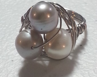 Wire wrapped freshwater pearl ring size 8