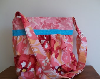 Ruffled Fabric Purse, Island Tropics, Cross Body Bag, Peaches and Pinks,  Adjustable Strap Options Available, Fabric Purse Womens Accessory