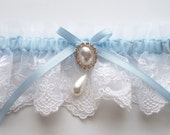 Wedding Garter in White Lace with Satin Ribbon Bow Topped by a Pearl and Crystal Detail  - The MEREDITH Garter