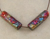 Raku Ceramic Beads - Rainbow Textured Tube Beads