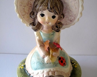 Ardco Vintage Music Box Girl in Bonnet Made in Japan