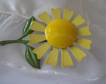 Yellow Enamel Flower Brooch Estate Jewelry Mid Century Jewelry