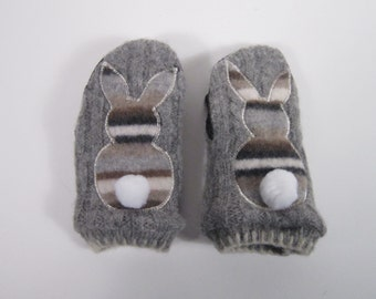 Gray Wool Shrunken Sweater Bunny Mittens 2-5 Years Size(m58)