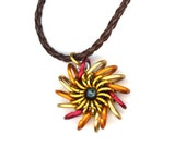 Pendant Necklace, Hot Colors, Chainmaille Whirlybird Style, Leather Cord Necklace