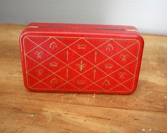 Tiny Red Heraldic or Armorial Design Travel Jewelry Jewel Box Case