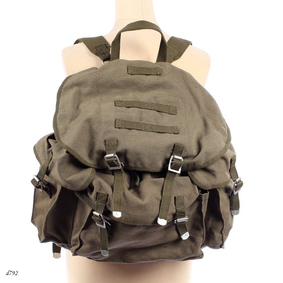 Canvas Backpack . Military Rucksack . Khaki Green Army