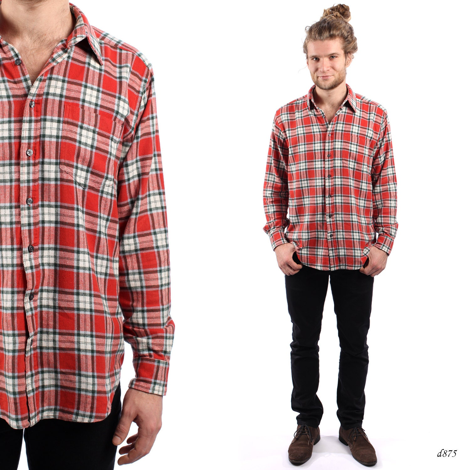 Mens flannel shirt checked mens shirt winter shirt red for Mens warm flannel shirts
