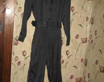 Vintage 1980s NICOLE mILLER black wide belt pants jumpsuit romper size 10