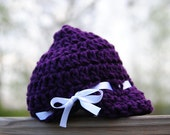Purple newsboy infant Plum hat baby Ribbon bowtie cap girl newborn Beanie winter accessory Team spirit colors Shower gift Birthday Take home