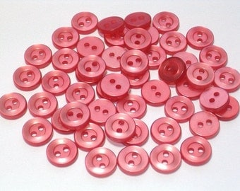 100 Pearly Watermelon Vintage Plastic Buttons 10mm Doll Size Craft Sewing Buttons