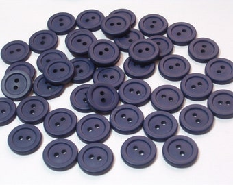 SALE Navy Blue Vintage Plastic Buttons 14mm Set of 40 Sewing Craft Buttons