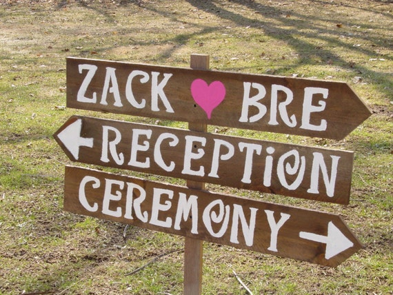 Items Similar To Rustic Wedding Signs 3 LARGE Painted Wood
