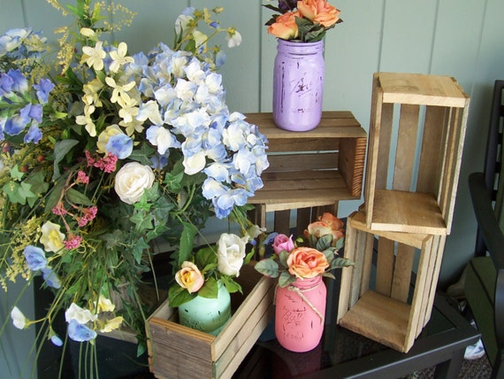 Wedding Centerpiece Wood Planter Box Rustic Crates