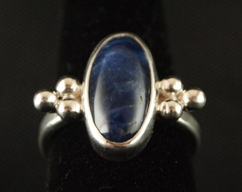 Sterling Silver and  Sodalite Ring Size 7 1/4