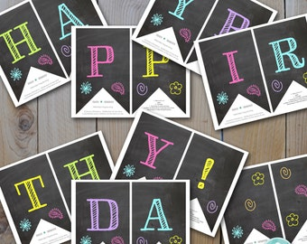Printable DIY Chalk Neon Happy Birthday Banner / Instant Download  / PRINTABLE / # 5504