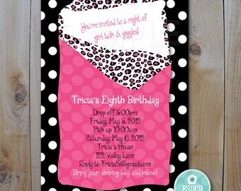 Sleepover Invitation / Hot Pink and Animal Print / PRINTABLE INVITATION / 92350