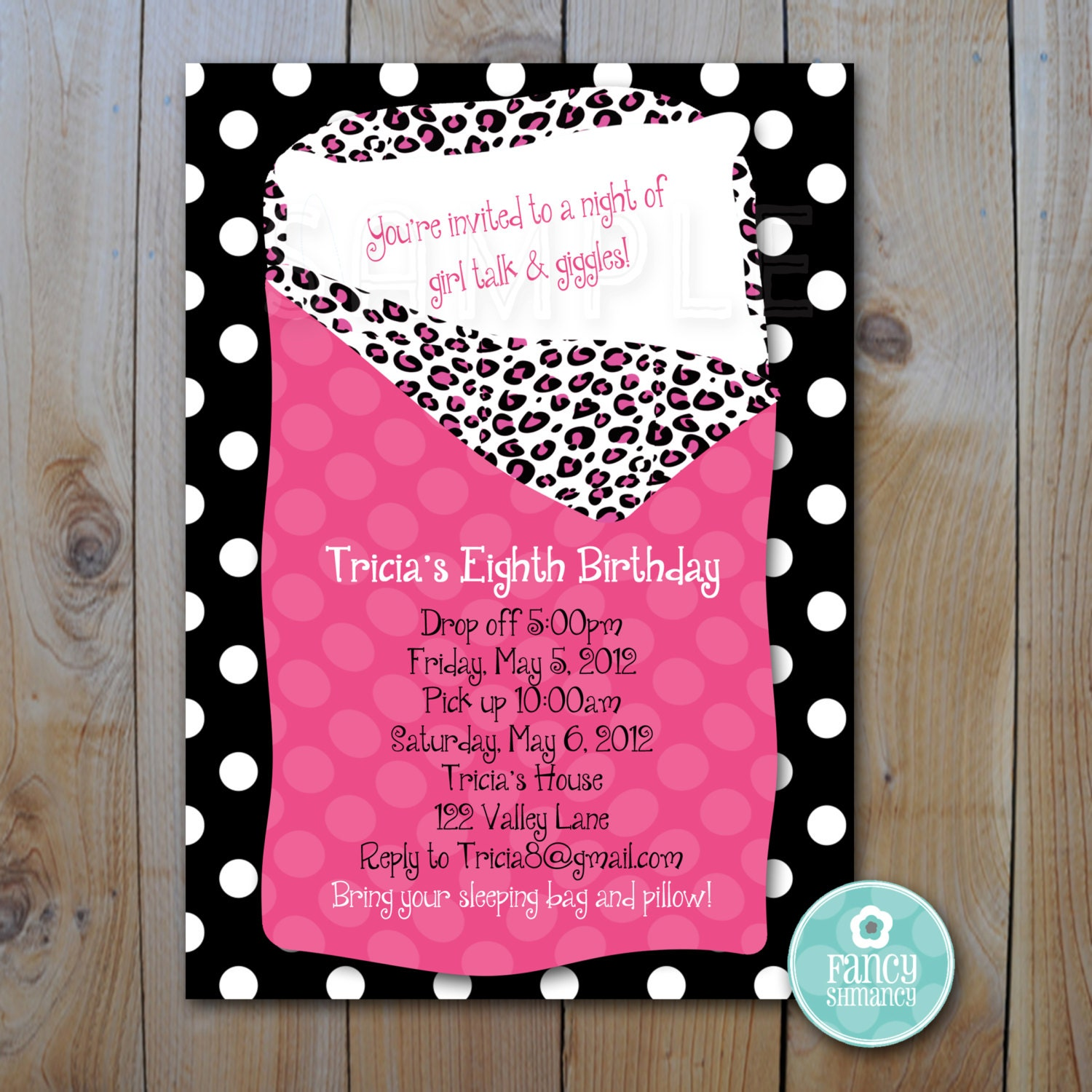 Sleepover Invitation / Hot Pink and Animal Print / PRINTABLE