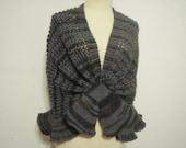 Dark Gray Merino wool  shawl style
