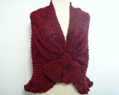 Cherry Red merino wool Knitted Wrap style