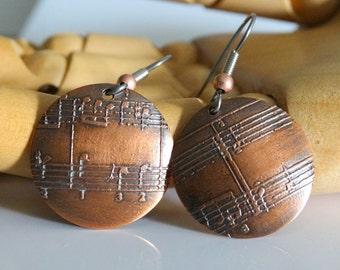 Copper Disk Earrings Etched Copper Earrings Musical Note Earrings