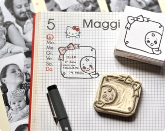 Baby care diary hand carved rubber stamp - Memo bow stamp
