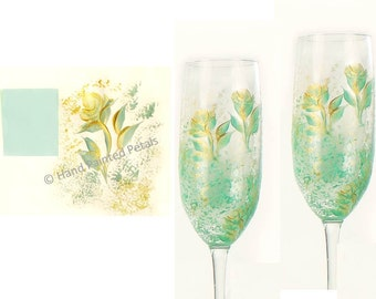 Set of 2 Hand Painted CRYSTAL Champagne Glasses - Mint Green and Gold Roses - Seafoam Green Custom 50th 25th Anniversary Gift Wine Glass Set