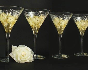 Hand Painted Anniversary Martini Glasses - Ivory and Gold Roses Set of 4 - Custom Wedding Gifts HandPainted Glassware