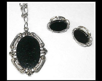 Black Cameo Necklace with Matching Earrings, Designer signed Star,  Vintage c 1940's to 1960's