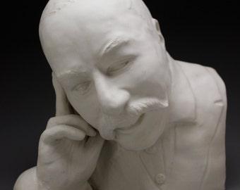 Custom Portrait Bust Sculpture Head, Made to Order Ceramic Figure Art Face