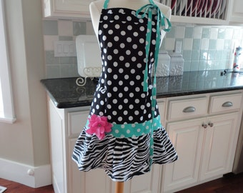 Rosie ~ Black Dot & Aqua ~ Women's Cute Apron ~ 4RetroSisters