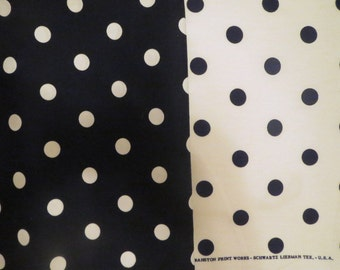 3 yards of Black Polka Dots White Polka Dots Fabric!