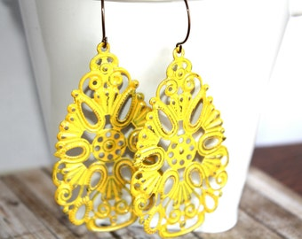 Handpainted Yellow Filigree Teardrop Earrings, Yellow Earrings, Handpainted Earrings, Boho Earrings Rustic Jewelry Dangle Earrings