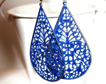 Royal Blue Teardrop Filigree Earrings, Handpainted Earrings, Bronze Filigree Earrings,Earrings Boho Earrings Rustic Jewelry Dangle Earrings