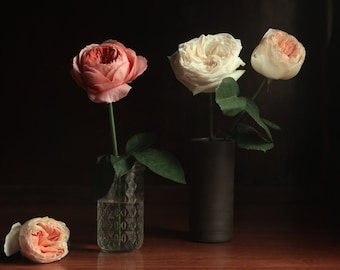 Dark Botanical Spring Still Life with Four Roses