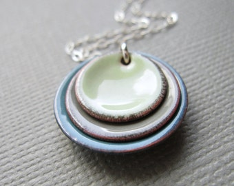 Tea Green Gray Blue Modern Minimalist Enamel Necklace Sterling Silver