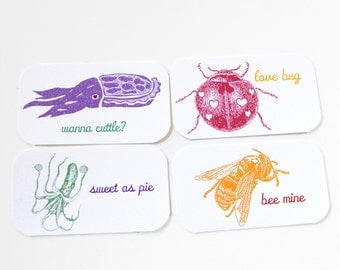 PRINTABLE, Kid Valentines Cards, School Valentines Set, DIY Cards, Valentines Day Cards, mini cards, cuttlefish, bee, bug, octopus