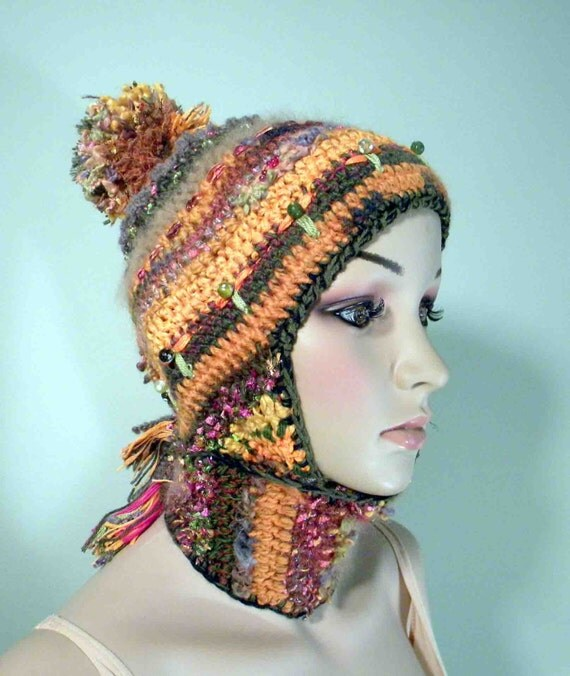 Wearable Art Hats: FLAPPERS BEANIE/HAT Wearable Fiber Art Trendy Retro By