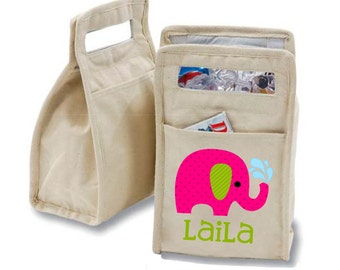 Personalized Elephant Insulated Cotton Lunch Bag - Personalized with Any Name and You Choose the Font!