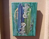 float - original painting with vintage collage- packard