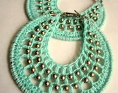 Crocheted hoops with beads in Mint green