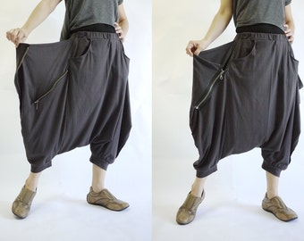 Funky Harem Boho Capric Drop Crotch Deep Chocolate Brownish Charcoal Stretch Cotton Pants With Zipped Flap Side And Elastic Waist