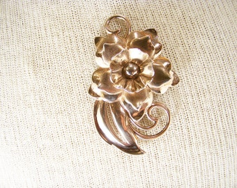 "Vintage Signed ""SB"" Art Nouveau Floral Bouquet Brooch Pin Sterling Rose Gold Vermeil Jewelry"